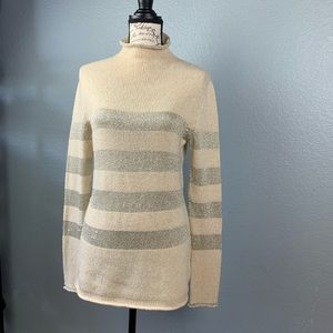 Tory Burch ivory Gold Metallic Stripes  Sweater S